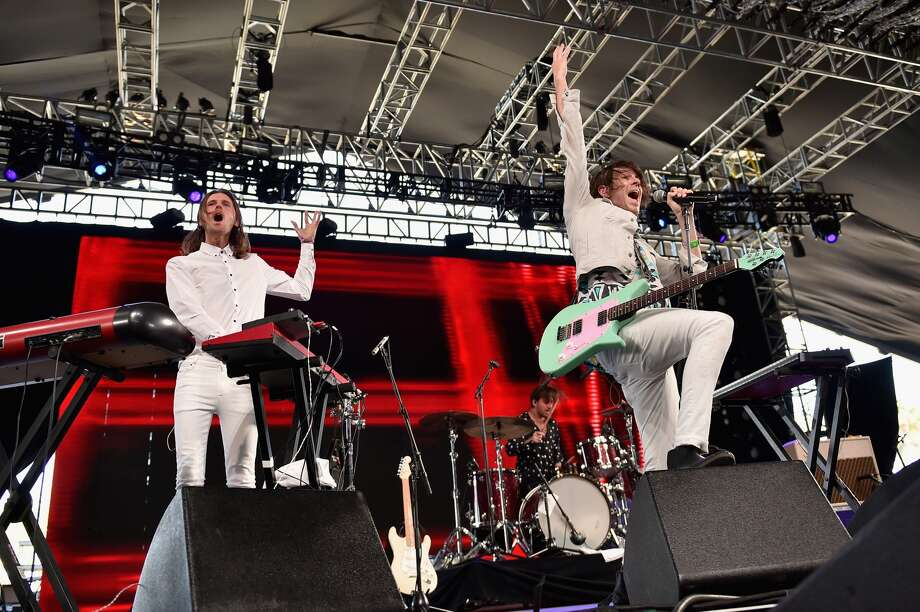 INDIO, CA - APRIL 15: Musician Daniel Whitechurch (C) of Miami Horror performs perform onstage during day 1 of the 2016 Coachella Valley Music & Arts Festival Weekend 1 at the Empire Polo Club on April 15, 2016 in Indio, California. (Photo by Mike Windle/Getty Images for Coachella)