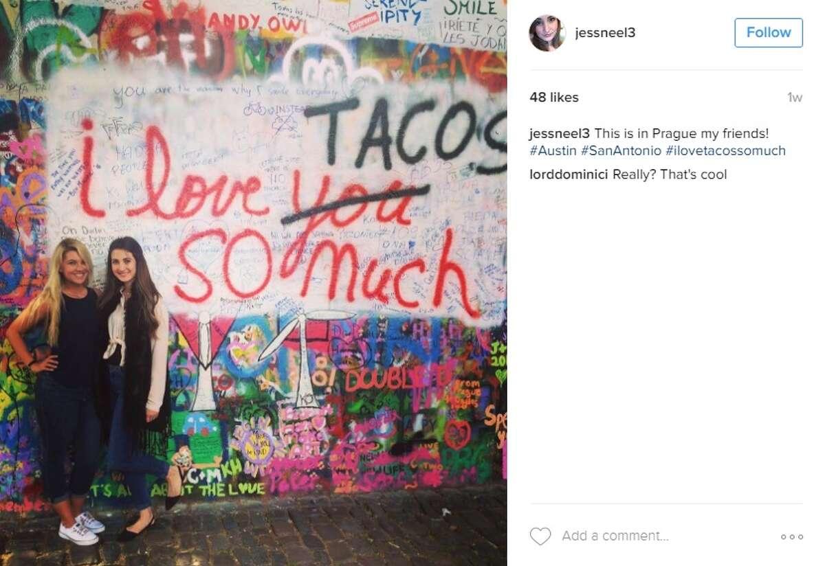 """This is in Prague my friends! #Austin #SanAntonio #ilovetacossomuch,"" @jessneel3."