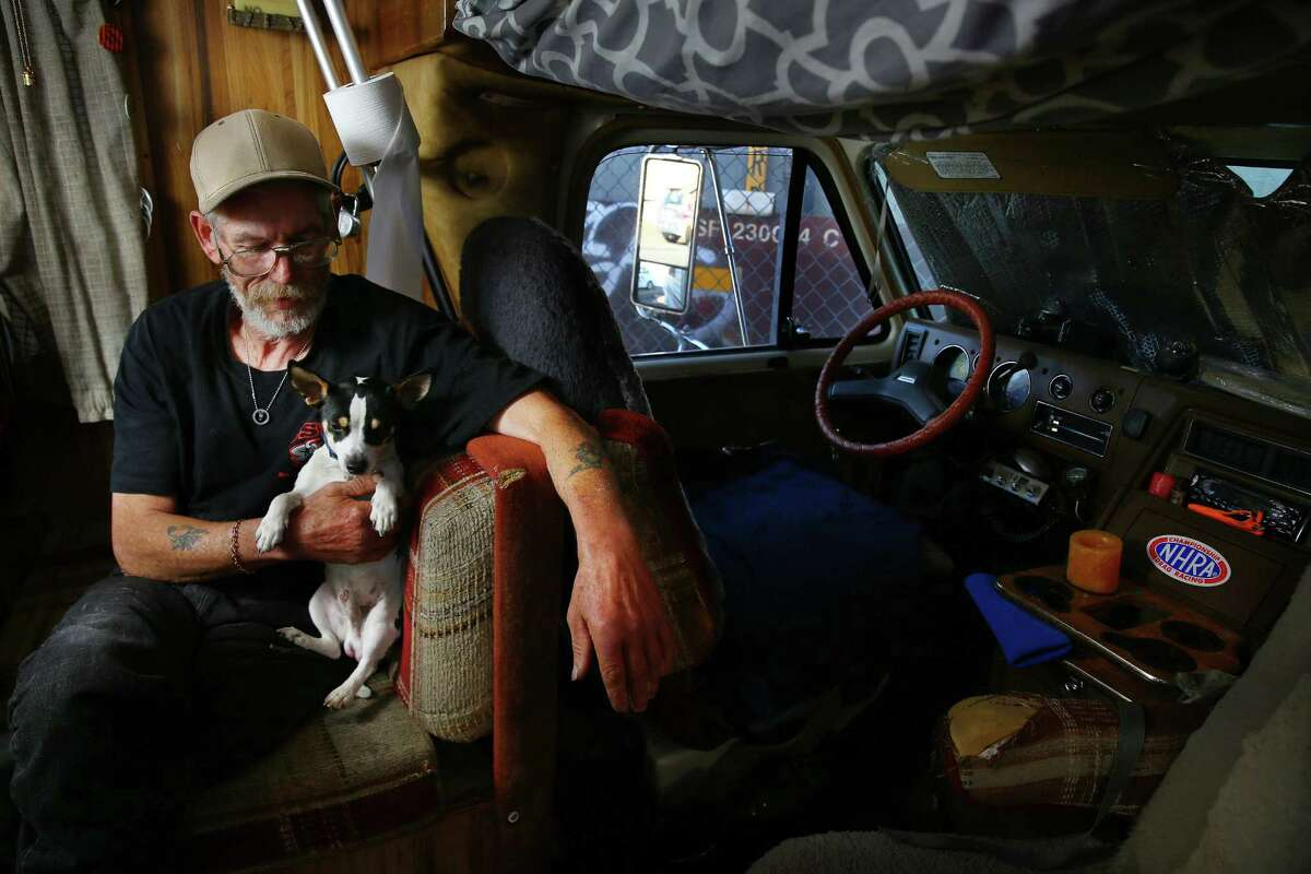 Frank, 66, has been homeless for 19 years. He spent 9 of those years in the Jungle. A year ago he was able to get a donated RV from the MORElove project where he lives on 3rd Avenue S with his dog Jojo--it's the first place that has felt like home for him. After spending 19 months as a POW during the Vietnam War, he can't live in a house or apartment. Walls and upper floor dwellings give him the feeling of being caged.