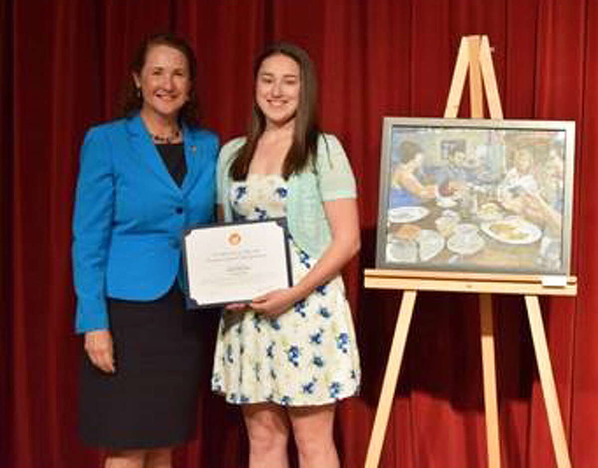 Congresswoman Elizabeth Esty has announced the winners, including a New Milford student, of the 2016 Congressional Art Competition for Connecticuts Fifth District. The winners were announced at a reception at Waterburys Historic Mattatuck Museum. Delaney Romaniello of New Milford, who is a student at Nonnewaug High School in Woodbury, earned honorable mention for her entry Brunch. A total of 119 pieces of artwork were submitted this year, up from 115 last year. Winners were chosen by a panel of local judges.