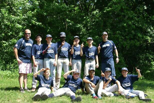 The Stratford 13U Babe Ruth Navy team won the Fairfield County Babe Ruth League Championship on June 19 at Unity Park in Trumbull. Team members include, front row, from left, Ethan David, Paul Lagerfeld, DJ Bennett, Lucas Smith and Kyle Shannon. Second row, coach Bob David, Tommy Shannon, Anthony Gabriele, Nate Smith, Michael Gramse, Ivan Martinez and manager Tom Smith.