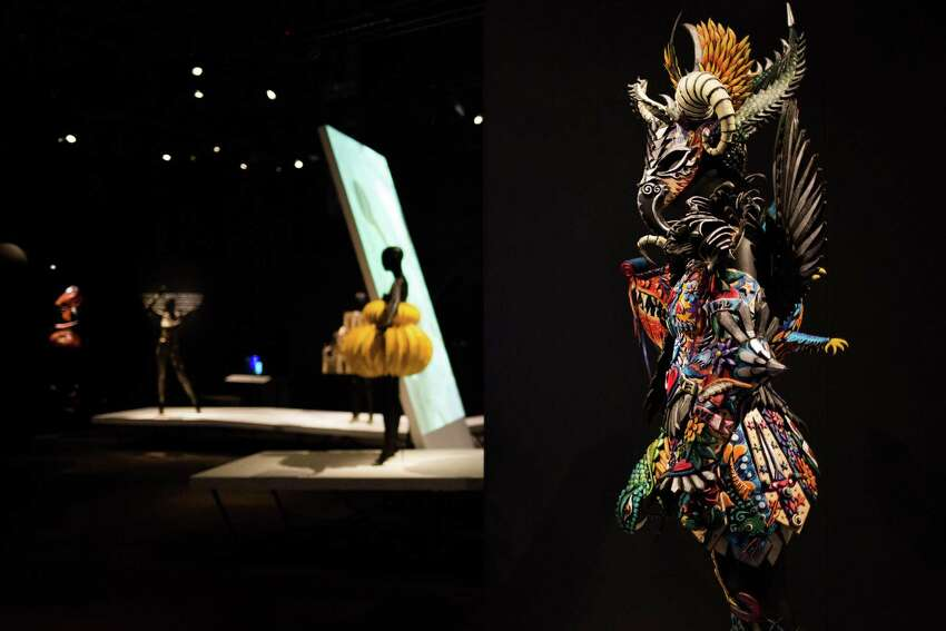 A tattoo-inspired outfit by Gillian Saunders is displayed during a media preview of the EMP Museum's new exhibit, World of WearableArt, on Wednesday, June 29, 2016.