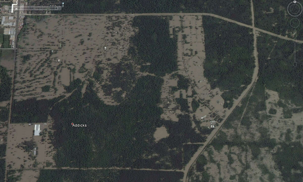Those same details in Addicks Reservoirare totally drowned in April 2016. Google Earth has updated it's satellite photos and they show the extreme extent of flooding that Houston and surrounding areas experienced during the April floods.
