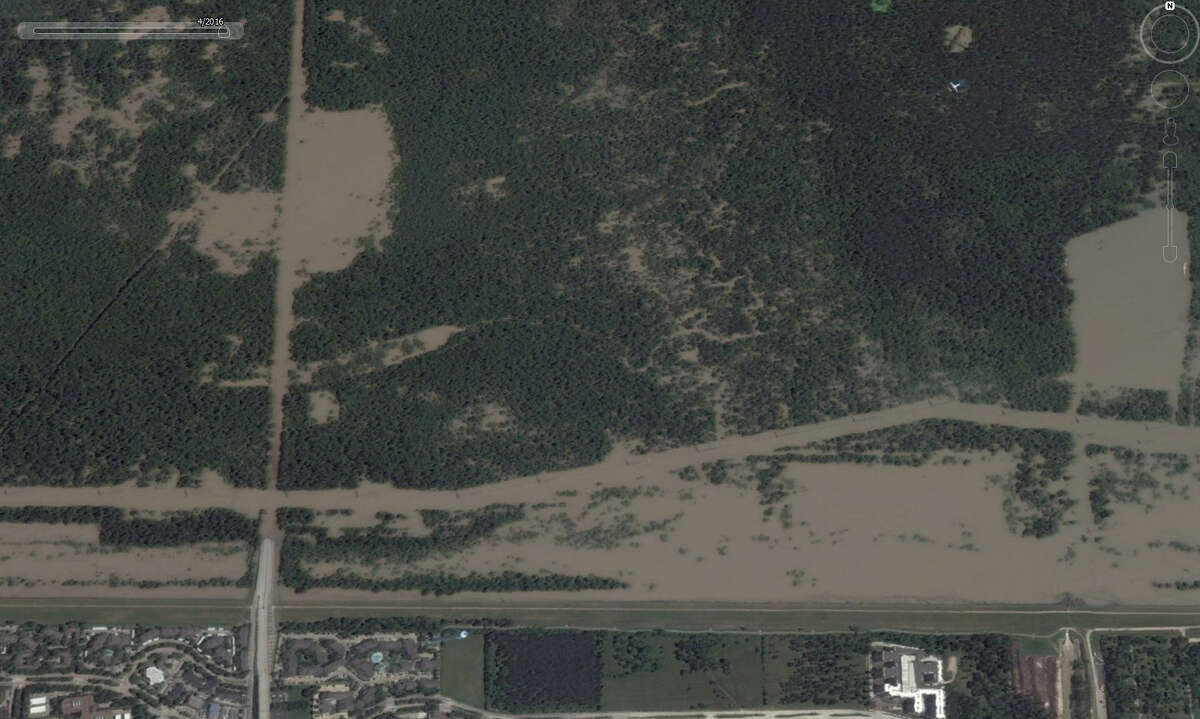 A look at Texas 6 near Addicks Reservoir in Houston in April 2016. Google Earth has updated its satellite photos and they show the extreme extent of flooding that Houston and surrounding areas experienced in the spring.