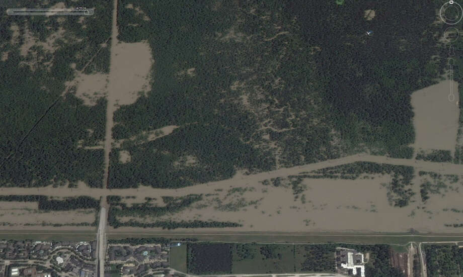 A look at Texas 6 near Addicks Reservoir in Houston in April 2016. Google Earth has updated its satellite photos and they show the extreme extent of flooding that Houston and surrounding areas experienced in the spring. Photo: Google Earth Screenshots