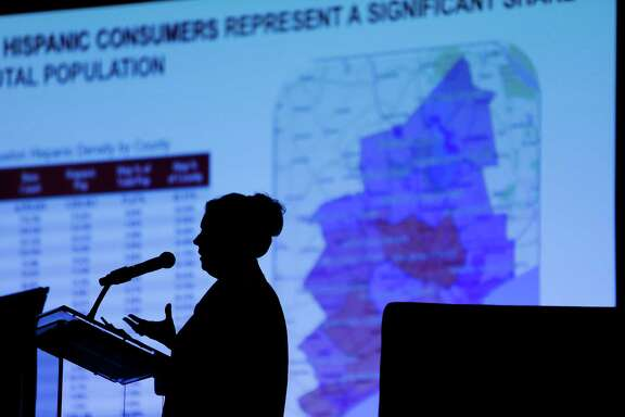 Telemundo Houston Research Director Mitzi Fleissner presents at the Hispanic Houston Impact Summit to give a look at the economic, social, and civic impact of the Latino community on the region Wednesday, June 29, 2016 in Houston. ( Michael Ciaglo / Houston Chronicle )