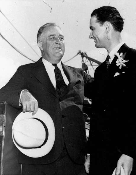 President Franklin D. Roosevelt and young Rep. Lyndon Johnson, D-Texas, became fast friends when Johnson early pitched into the middle of the battle for Roosevelt's New Deal. Here they are at Galveston, Texas in May, 1937, when Roosevelt was there aboard the presidential yacht Potomac on a fishing trip. (AP Photo) Photo: AP / AP