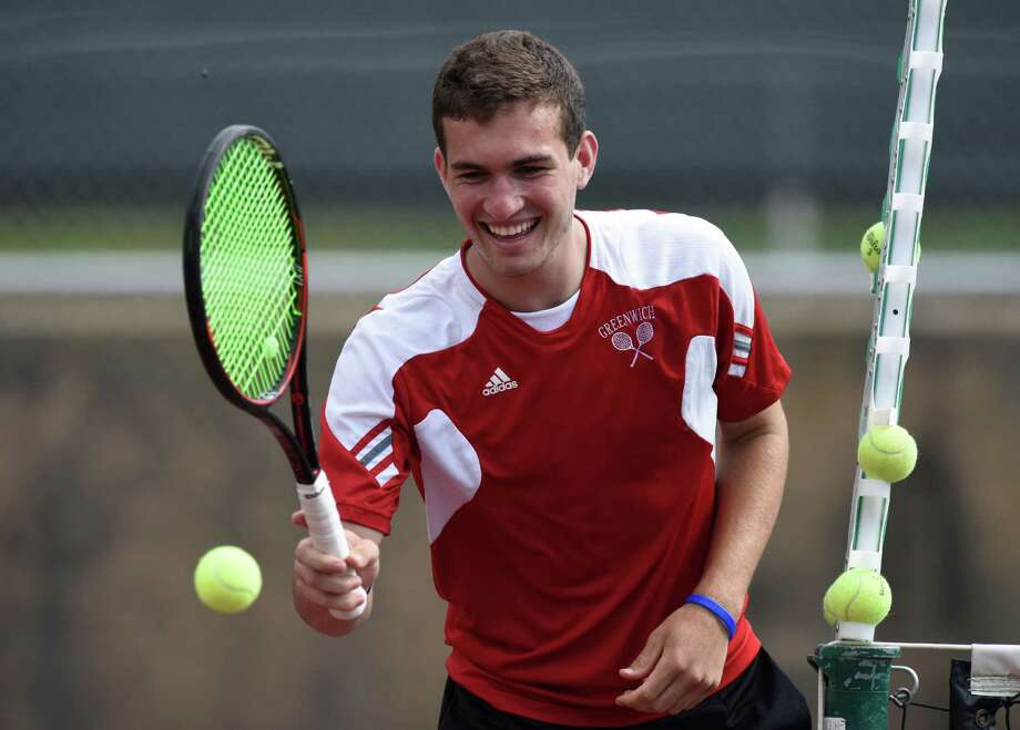 Greenwich High's Will Blumberg smiles between games during the No. 1 Cardinals' win over No. 5 Darien in the FCIAC semifinals on May 23. Enjoying an undefeated high school season, the nationally ranked Blumberg has been named the Hearst Connecticut Media Boys Tennis MVP. Photo: Tyler Sizemore / Hearst Connecticut Media / Greenwich Time