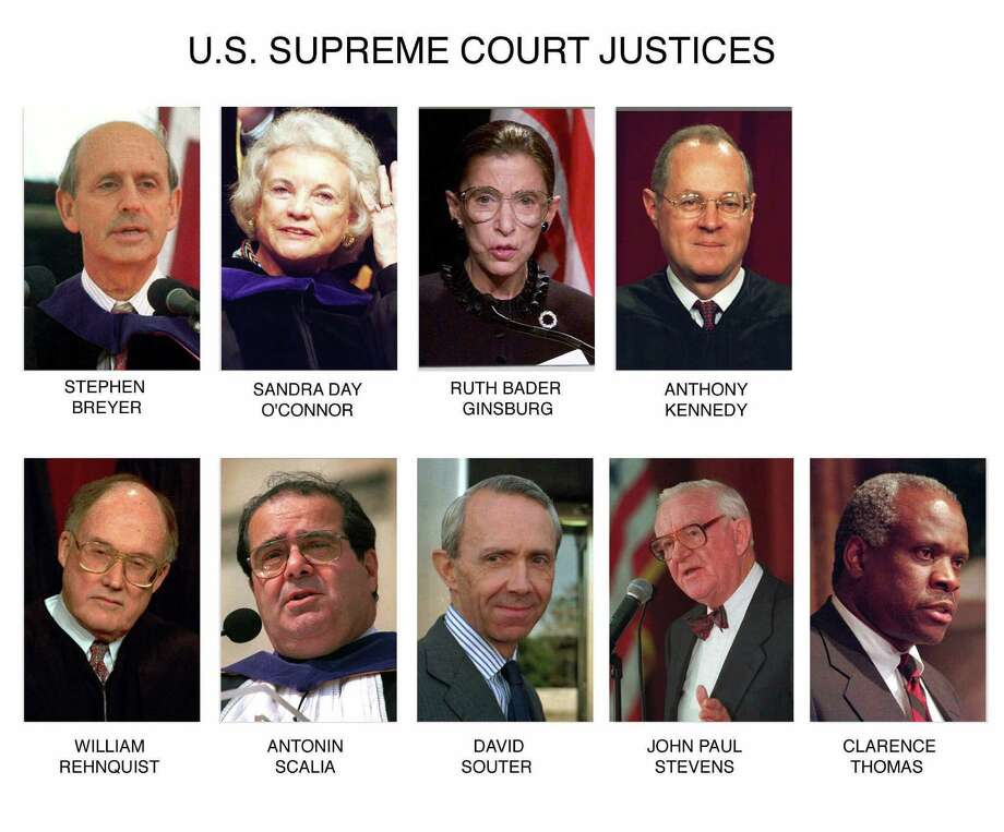 These are file photos of the justices of the U.S. Supreme Court. They are top row from left: Justice Stephen Breyer, Justice Sandra Day O'Connor, Justice Ruth Bader Ginsburg and Justice Anthony Kennedy. Bottom row from left: Chief Justice William Rehnquist, Justice Antonin Scalia, Justice David Souter, Justice John Paul Stevens and Justice Clarence Thomas. (AP Photos/File) / AP
