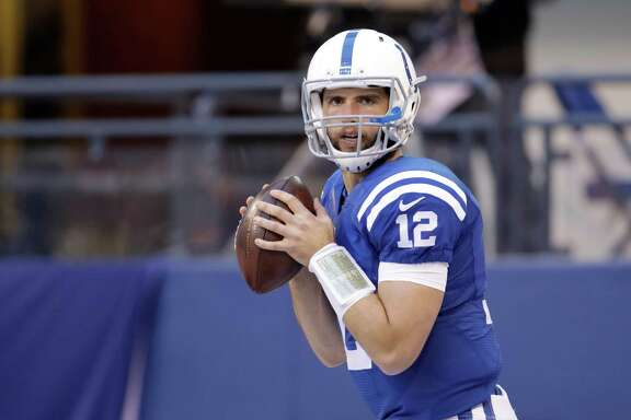 Indianapolis Colts' Andrew Luck throws before the start of an NFL football game against the Denver Broncos, Sunday, Nov. 8, 2015, Indianapolis. (AP Photo/AJ Mast)