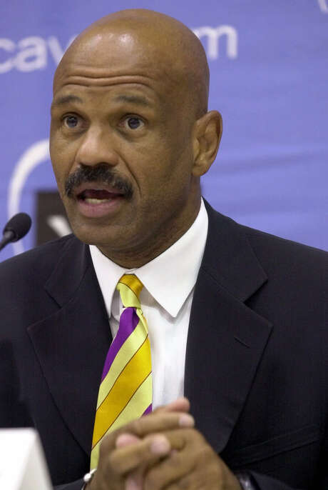Cleveland Cavaliers new head coach John Lucas answers a question at a news conference Tuesday, June 19, 2001, at the Gund Arena in Cleveland. Lucas also coached in San Antonio and Philadelphia before spending the past three seasons as an assistant in Denver.(AP Photo/Tony Dejak) Photo: TONY DEJAK, STF / AP2001