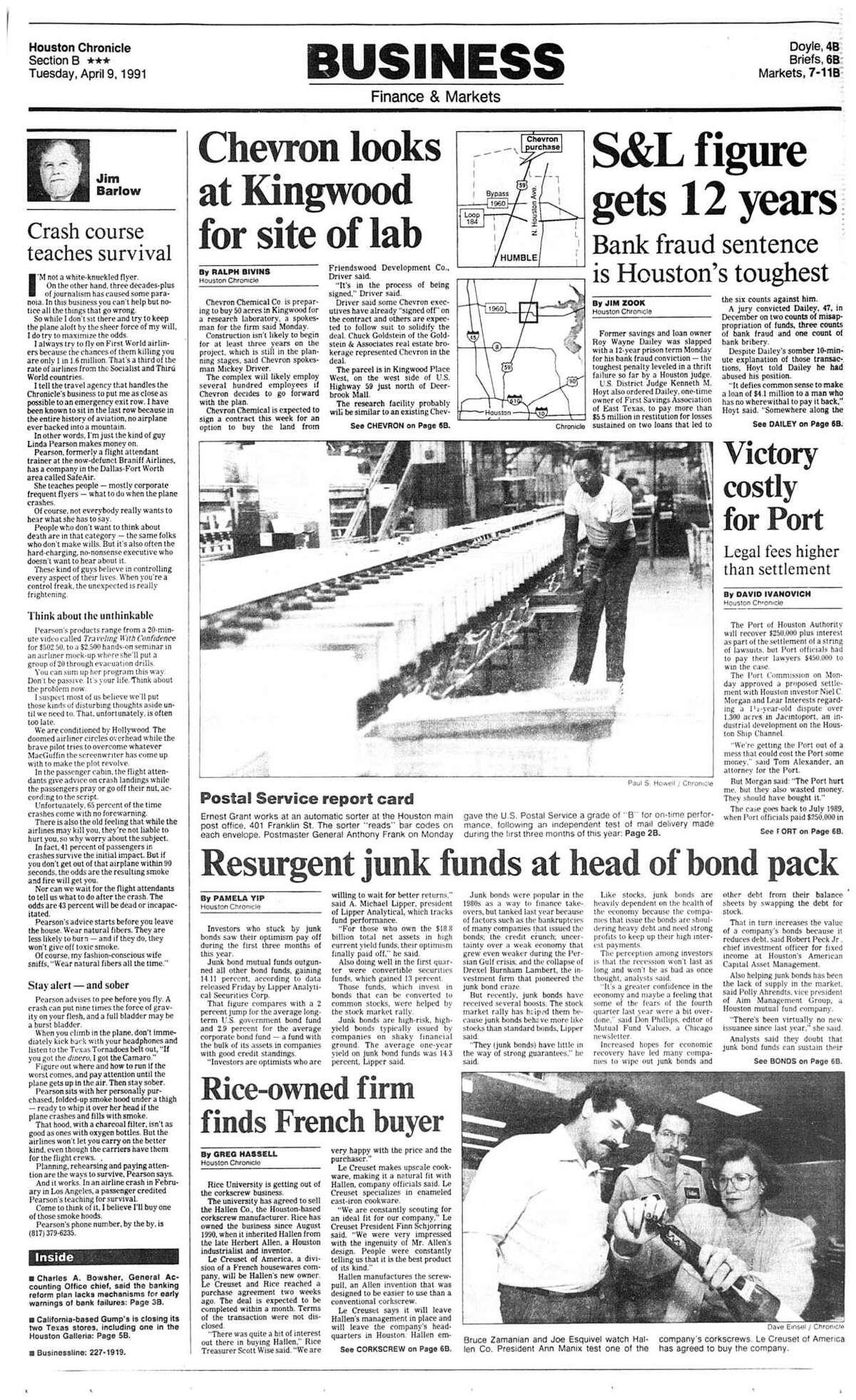 Houston Chronicle inside page (HISTORIC) Â?- April 9, 1991 - section B, page 1. Rice-owned firm finds French buyer (HALLEN CO)