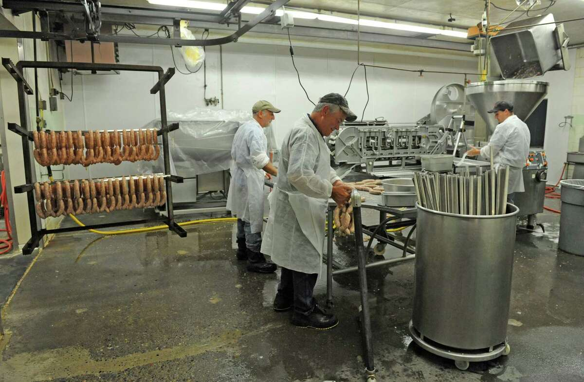 Chiken sausage being made at White Eagle Packing Co. on Friday June 24, 2016 in Schenectady, N.Y. (Michael P. Farrell/Times Union)