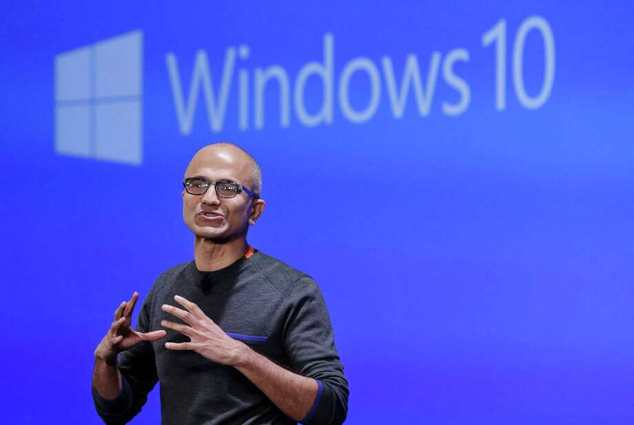 Microsoft CEO Satya Nadella speaks last year at an event demonstrating Windows 10 at the company's headquarters in Redmond, Wash.  Photo: Elaine Thompson, STF / Copyright 2016 The Associated Press. All rights reserved. This material may not be published, broadcast, rewritten or redistribu