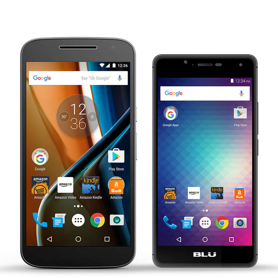 This photo provided by Amazon shows Motorola's Moto G, left, and the Blu R1 HD. After flopping spectacularly with its own Fire phone, Amazon is selling special editions of other phones at a $50 discount. These phones will come with ads on the lock screen and lots of Amazon apps on the home screen. You can hide those apps, but won't be able to uninstall them. (Amazon via AP) Photo: HONS / Amazon