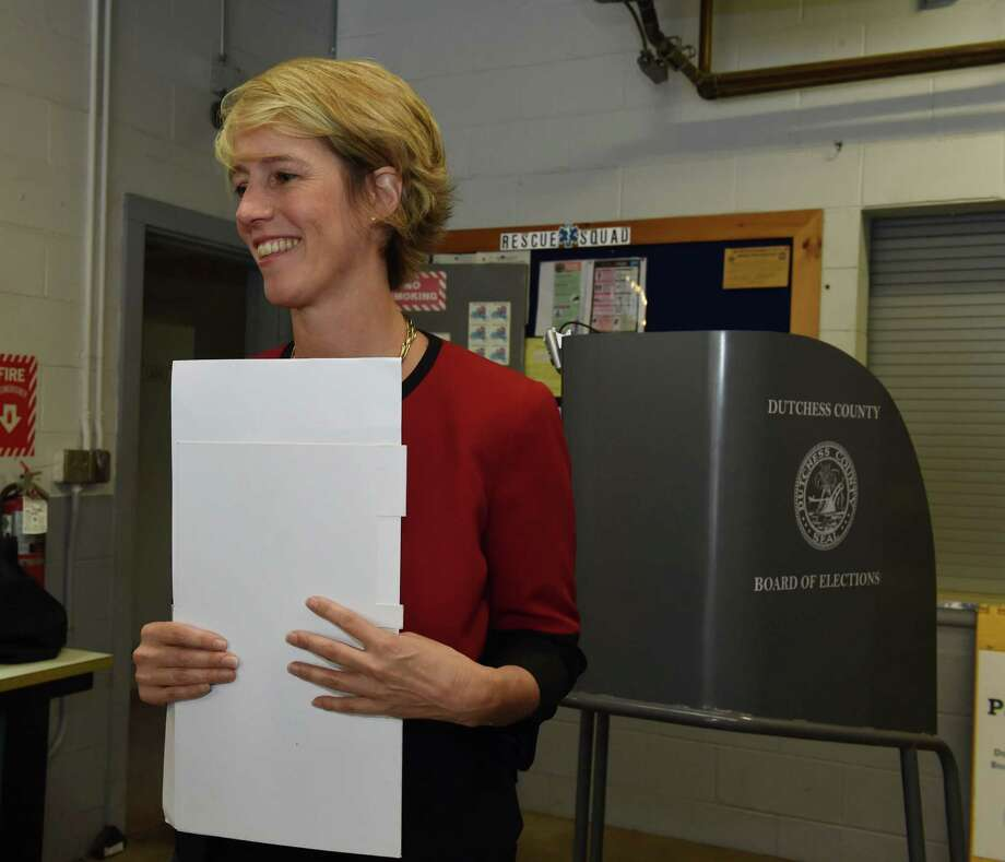 Zephyr Teachout, a candidate in the Democratic Congressional primary for the 19th district, waits to cast her ballot in the primary election at the East Clinton Fire District in Clinton Corners on Tuesday, June 28, 2016. (Patrick Oehler/The Journal via AP) Photo: Patrick Oehler / The Journal