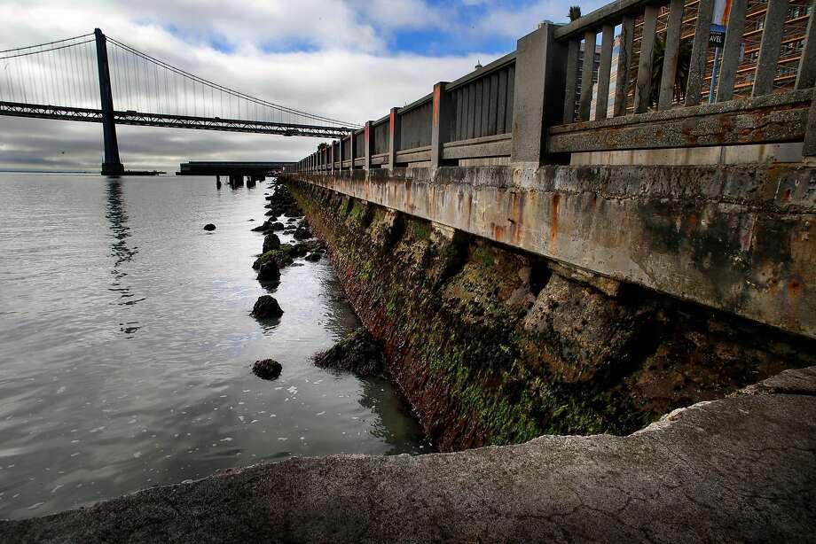 The decaying seawall along the Embarcadero. Photo: Michael Macor / The Chronicle