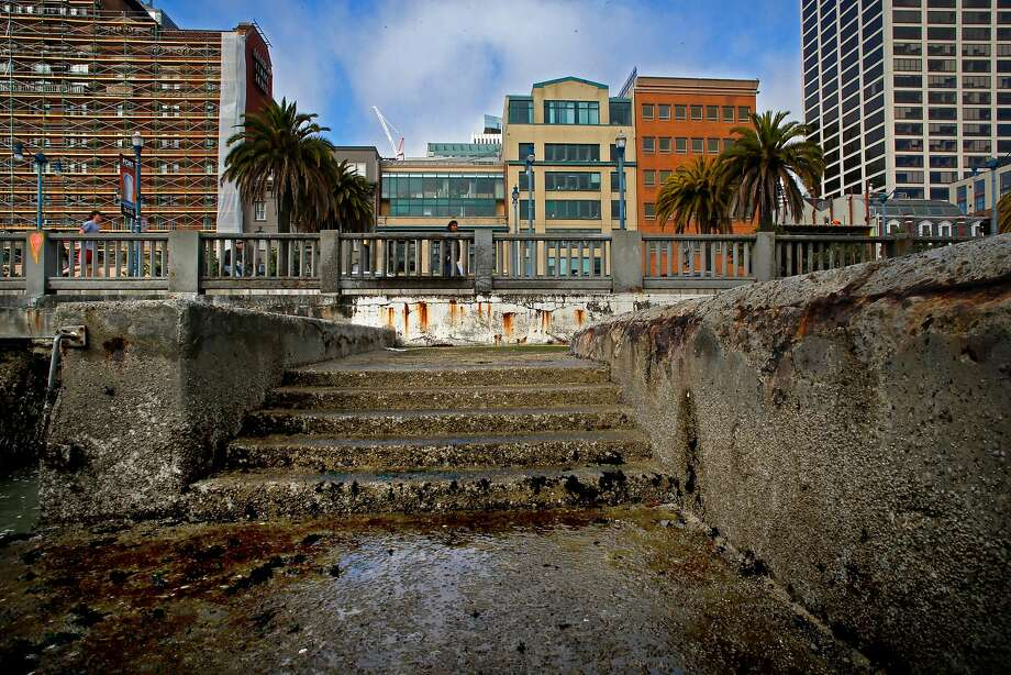 The San Francisco seawall protects the edge of the city and critical infrastructure. Photo: Michael Macor / The Chronicle