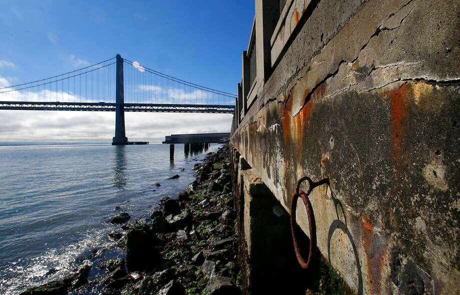The decaying seawall along the Embarcadero in San Francisco. Photo: Michael Macor / The Chronicle