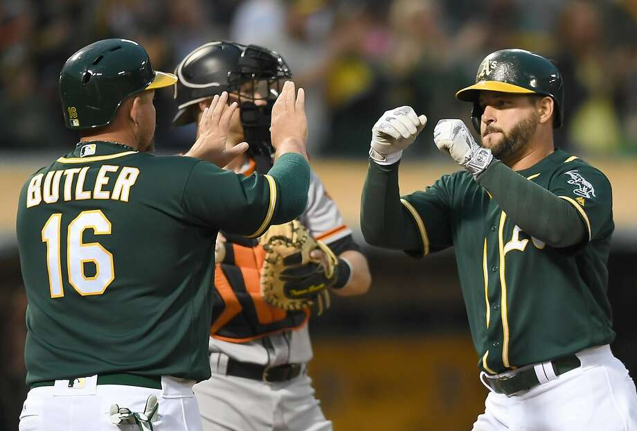 Yonder Alonso of the Oakland Athletics is congratulated by Billy Butler #16 after Alonso hit a two-run homer against the San Francisco Giants in the bottom of the fourth inning at O.co Coliseum on June 29, 2016 in Oakland, California.  Photo: Thearon W. Henderson, Getty Images
