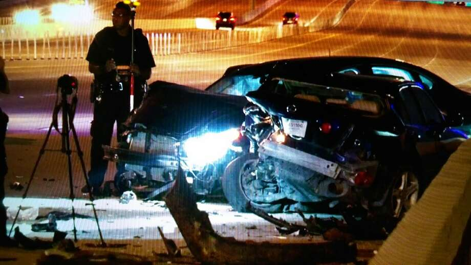 Two men were seriously injured in a traffic crash about 1 a.m. Thursday June 30, 2016, on the inbound Katy Freeway near Gessner in west Houston. (Metro Video)