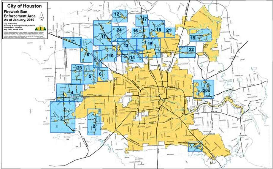 Fireworks are allowed in unincorporated areas of Harris County.
