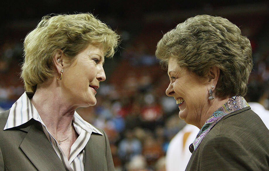 Then the coaches at Tennessee and Texas, Pat Summitt, left, and Jody Conradt alternated annual games between home courts starting in 1982 in a successful attempt to expand the popularity of women's basketball. Photo: Deborah Cannon, STR / AP2006