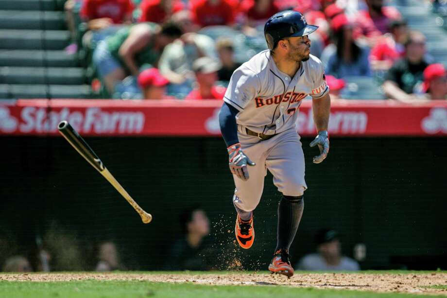 ANAHEIM, CA - JUNE 29: Jose Altuve #27 of the Houston Astros hits the ball in the 6th inning against the Los Angeles Angels at Angel Stadium of Anaheim on June 29, 2016 in Anaheim, California. (Photo by Kent Horner/Getty Images) Photo: Kent Horner, Stringer / 2016 Getty Images