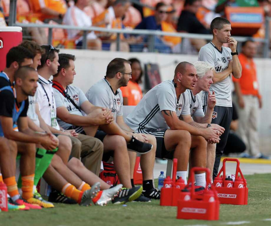 Houston Dynamo interim head coach Wade Barrett on the sidelines during the first half of the Lamar Hunt U.S. Open Cup Round of 16 at BBVA Compass Stadium, Wednesday, June 29, 2016, in Houston. ( Karen Warren  / Houston Chronicle ) Photo: Karen Warren, Staff / © 2016 Houston Chronicle
