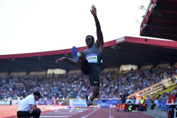 U.S. athlete Marquise Goodwin competes in the men's long jump during the 2016 IAAF Birmingham Diamond League meet at Alexander Stadium in Birmingham, England on June 5, 2016.