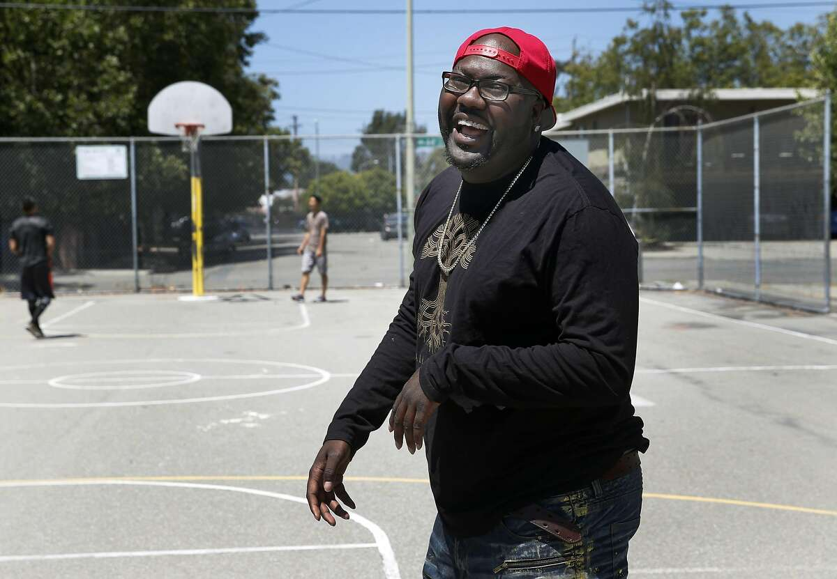 Rapper Mistah F.A.B. shoots hoops at Linden Community Park, where he spent his days as a youth, in Oakland, Calif. on Wednesday, June 29, 2016.