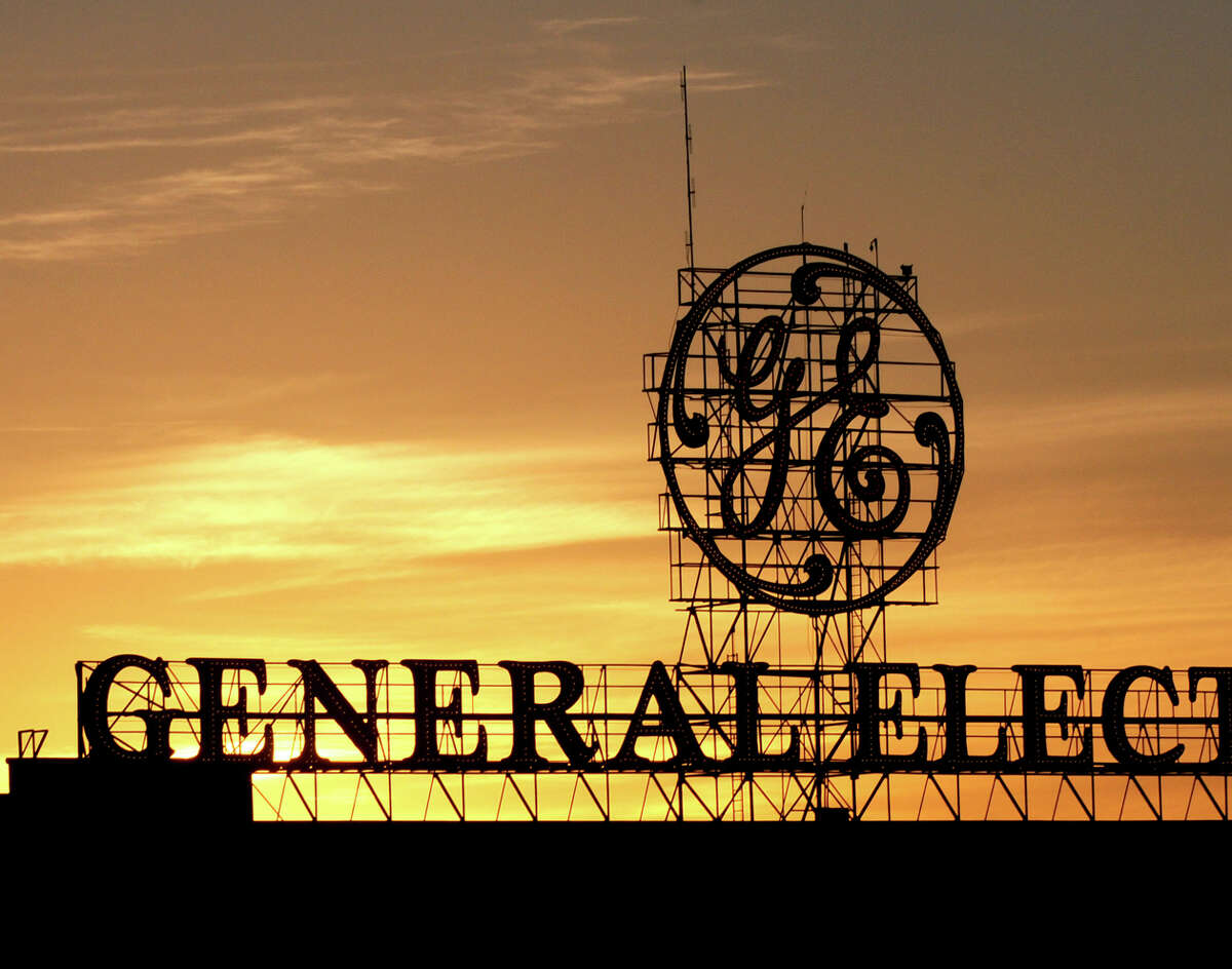 General Electric sign on Tuesday evening, Sept. 15, 2015, in Schenectady, N.Y. (Michael P. Farrell/Times Union)