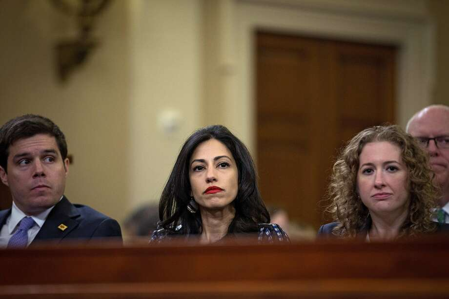 Huma Abedin (center) said Hillary Clinton never intended to sidestep federal record-keeping laws. Photo: DOUG MILLS, NYT