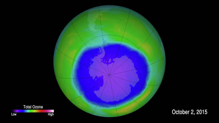 This false-color image shows ozone concentrations above Antarctica on Oct. 2, 2015. MUST CREDIT: NASA, Goddard Space Flight Center. Photo: NASA Goddard Space Flight Center, NASA, Goddard Space Flight Center / NASA, Goddard Space Flight Center