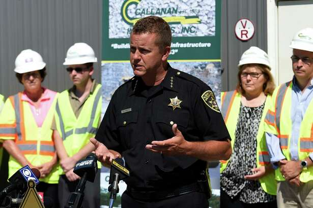 Albany County Sheriff Craig Apple gives an explanation of the Second Chance Veteran Inmate Work Release Program at a press conference held at Callanan Industires Thursday June 30, 2016 in Selkirk, N.Y.  (Skip Dickstein/Times Union)
