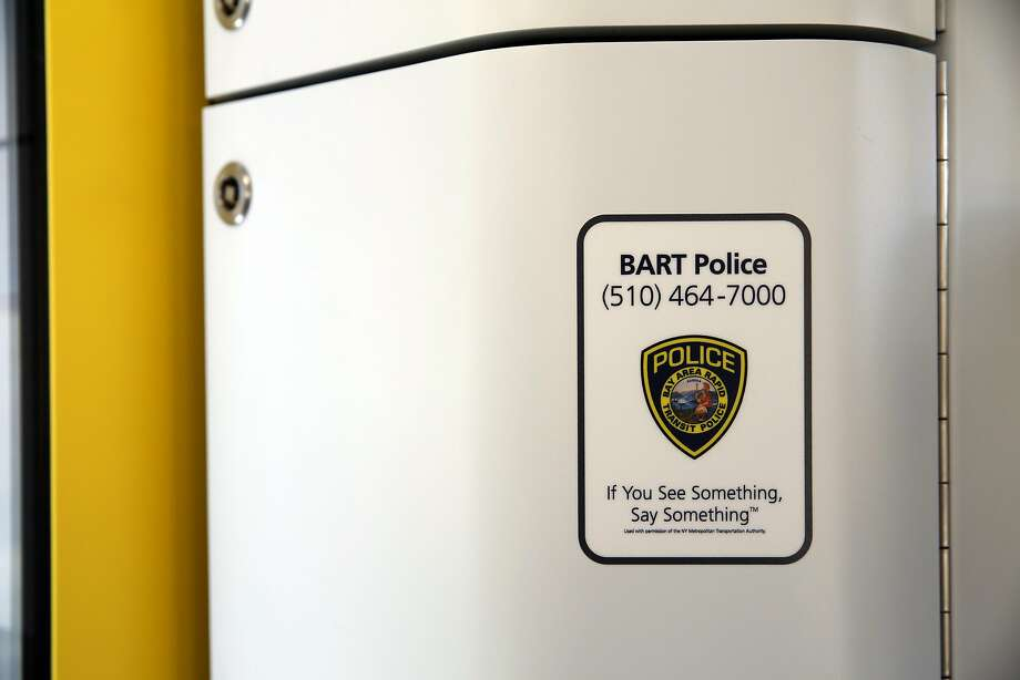 A BART police sticker inside the passenger compartment of BART's new train car in Antioch, California, on Thursday, June 30, 2016. Photo: Connor Radnovich, The Chronicle