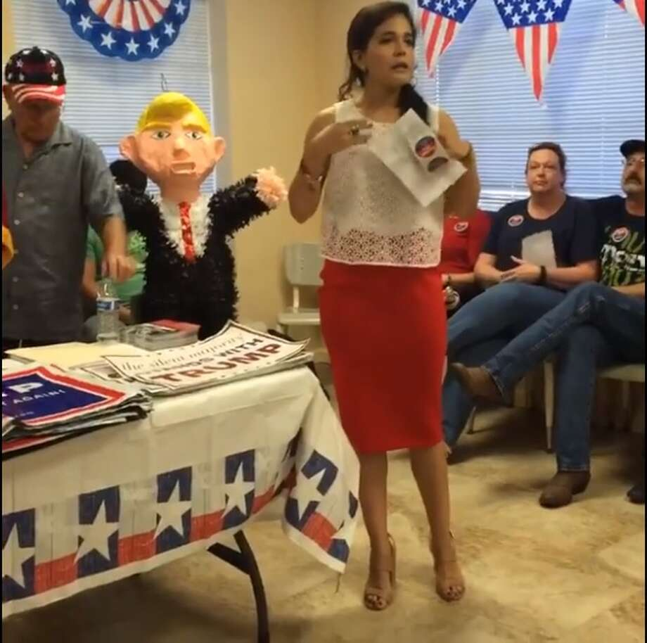 Miriam Cepeda, 24, campaigns for presumptive Republican nominee for president Donald Trump in Hidalgo County June 15. Photo: Courtesy/Facebook