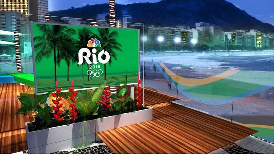 This photo provided by NBC and HD Studio shows NBC's daytime and late night set for the Rio Olympics located on Copacabana Beach in Rio. NBC says it will provide 85 hours of virtual reality programming during the Rio Olympics in August, but only to users of Samsung Galaxy smartphones and the Samsung Gear VR headset. (HD Studio/Courtesy of NBC via AP) Photo: Associated Press