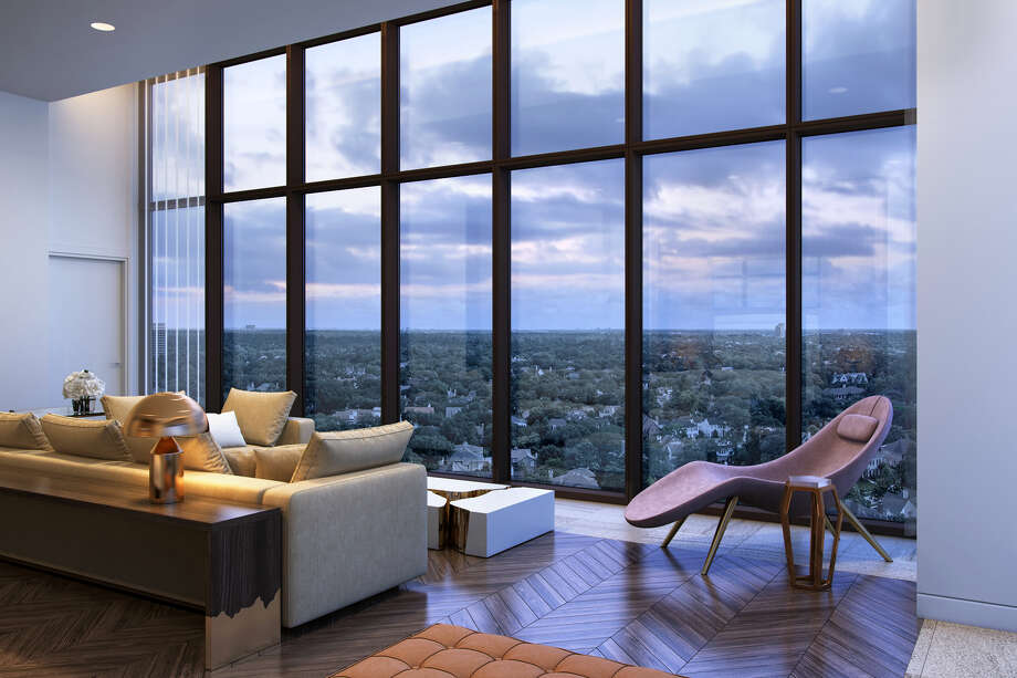 Renderings of the penthouse at The River Oaks, the 19-story high-rise under construction on Westheimer. The 79-unit building will have three penthouses. One of which will be listed as the most expensive luxury condominium ever in Houston at $13 million. Photo: Arel Capital