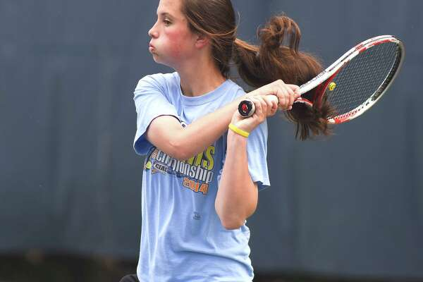 Darien's Kateri Martin takes part in the 2015 State Open singles semifinals.