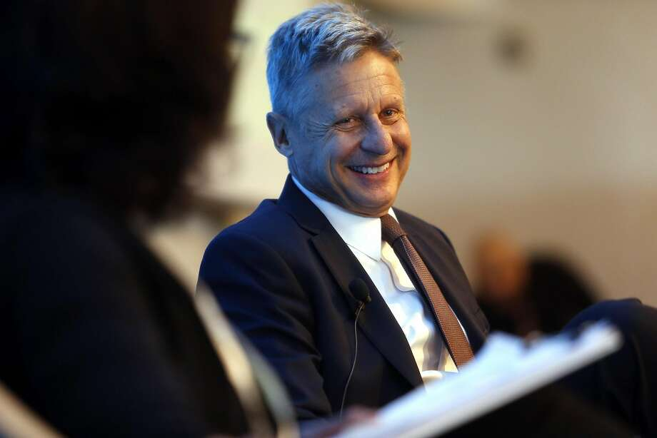 "Gary Johnson, the Libertarian Party's candidate for president, appears at an event in San Francisco organized by the Lincoln Initiative. The former Republican governor of New Mexico touts himself as the alternative to major-party candidates Hillary Clinton and Donald Trump, whom he calls ""the 