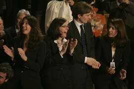 pelosi4_285_mac.jpg    Pelosi family, daughters, Christine, Alexandra, Michiel Vos, (Alexandra's husband) and another daughter Jacqueline applaud the Speaker. The 110th Congress opening day ceremonies as Nancy Pelosi is officially voted into office as Speaker of the House today. Event in, Washington, DC, on 1/4/07.   Photo by: Michael Macor/ San Francisco Chronicle    Ran on: 01-05-2007 The new speaker greets celebrants during an evening gala concert and fundraiser in the Great Hall at Washington's National Building Museum.