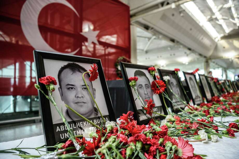 Two memorial services for victims of the bombing were held at the Ataturk airport in Istanbul, where the death toll of Tuesday's attack rose to 44. Photo: OZAN KOSE, Stringer / AFP or licensors