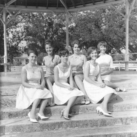 The Miss Comfort Court marks its 50th anniversary Saturday. In 1966, the pageant included (front row, from left) Shirley Rust Stehling, Roxanne Bohnert Taylor and Janice Reeh Riddle (Princess). In the back row are (from left) Carol Dreiss Thomas (Miss Comfort), Harriet Britt Kirchhoff and Jane Lindner King. Photo: Courtesy Photo