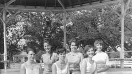The Miss Comfort Court marks its 50th anniversary Saturday. In 1966, the pageant included (front row, from left) Shirley Rust Stehling, Roxanne Bohnert Taylor and Janice Reeh Riddle (Princess). In the back row are (from left) Carol Dreiss Thomas (Miss Comfort), Harriet Britt Kirchhoff and Jane Lindner King.