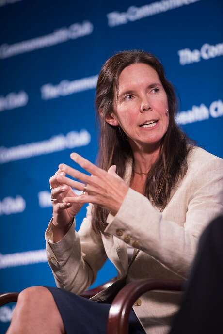 Dawn Weisz, CEO of Marin Clean Energy, speaks at the Commonwealth Club of California. Weisz and her organization, which buys renewable energy on behalf of some Bay Area communities, are playing a part in a vast reworking of California's power grid. Photo: Ed Ritger, Climate One/Commonwealth Club