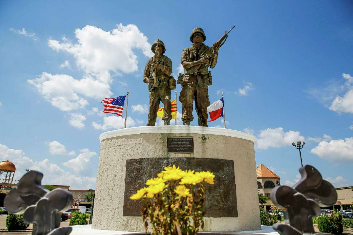 A Vietnam war memorial sits in the parking lot of a strip mall off Bellaire Boulevard between Turtlewood Drive and Cook Road, an area some want to call Little Saigon, Thursday, June 30, 2016 in Houston.