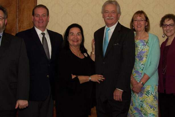 The New York State Research Foundation for Mental Hygiene honored Susan Delano, deputing managing director, on her retirement on June 16 at the Century House in Latham. The foundation administers and directs research programs at the state Office of Mental Health, the Office of People with Developmental Disabilities and the Office of Alcoholism and Substance Abuse Services. Shown, from left, are Dr. David Strauss, Psychiatric Institute; Robert Burke, foundation managing director; Sherry Grenz, foundation board member; Thomas O'Hara, Nathan Kline Institute; Delano; and Robin Goldman, Office Of Mental Health attorney. (Submitted photo)