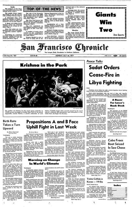 The Chronicle's front page from July 25, 1977, covers a Hare Krishna rally in Golden Gate Park and an early climate change warning.
