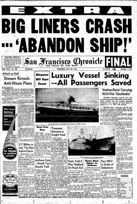 The Chronicle's front page from July 26, 1956, covers the collision of two ships.